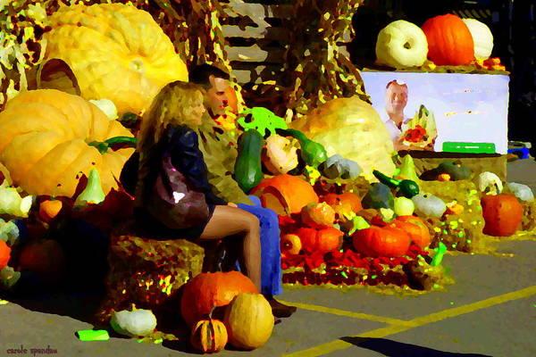 Markets Art Print featuring the painting Cabbage Patch Kids - Giant Pumpkins - Marche Atwater Montreal Market Scene Art Carole Spandau by Carole Spandau