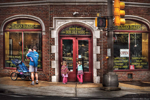 Traffic Light Art Print featuring the photograph Cafe - The Italian Bakery by Mike Savad