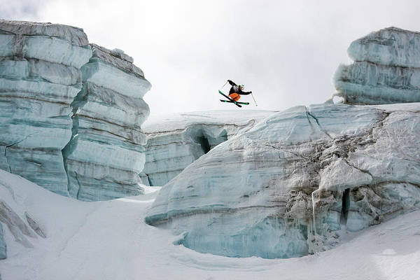 360 Art Print featuring the photograph Candide Thovex Out Of Nowhere Into Nowhere by Tristan Shu