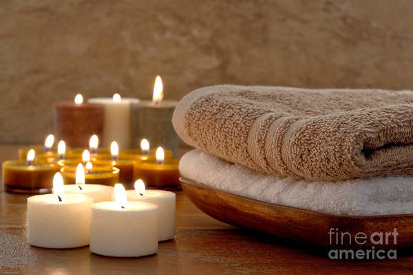 Spa Art Print featuring the photograph Candles And Towels In A Spa by Olivier Le Queinec
