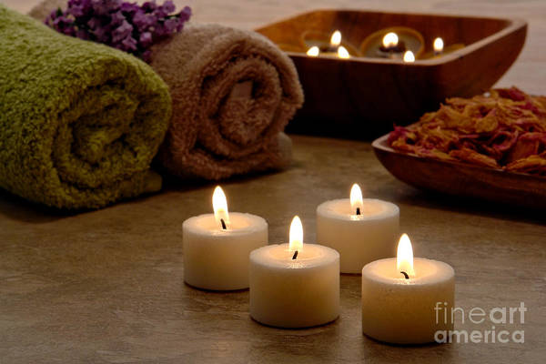 Spa Art Print featuring the photograph Candles In A Spa by Olivier Le Queinec