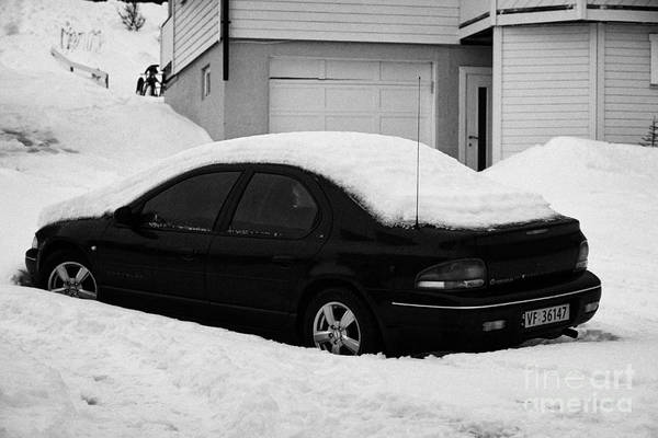 Car Art Print featuring the photograph Car Buried In Snow Outside House In Honningsvag Norway Europe by Joe Fox