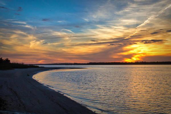 Sunset Photographs Art Print featuring the photograph Carolina Beach River Sunset II by Phil Mancuso