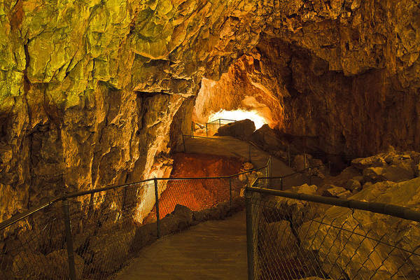 Grand Canyon Caverns Art Print featuring the photograph Cavern Aglow by Kenan Sipilovic