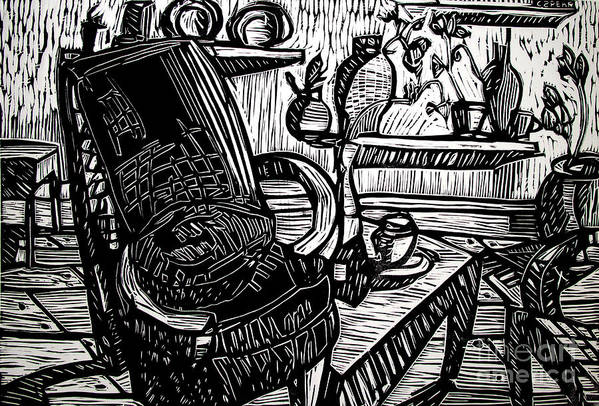 Chair Art Print featuring the drawing Chair Of My Dream Final Stage by Charlie Spear