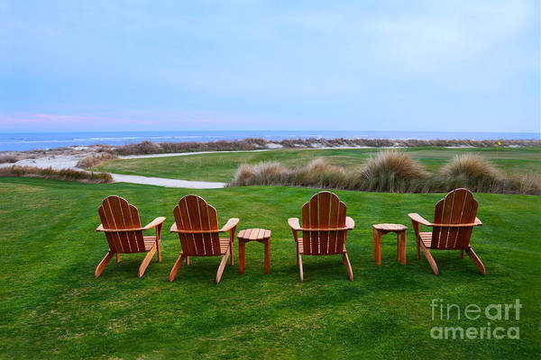 Golf Course Art Print featuring the photograph Chairs At The Eighteenth Hole by Catherine Sherman