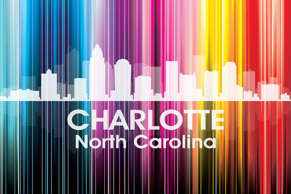 City Silhouette Print featuring the mixed media Charlotte Nc 2 by Angelina Vick