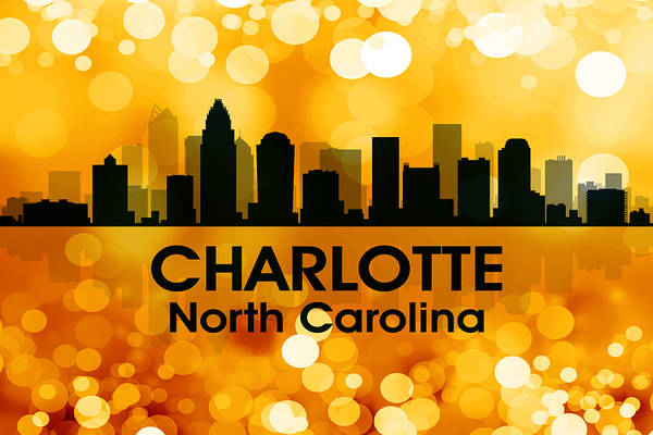 City Silhouette Art Print featuring the digital art Charlotte Nc 3 by Angelina Vick