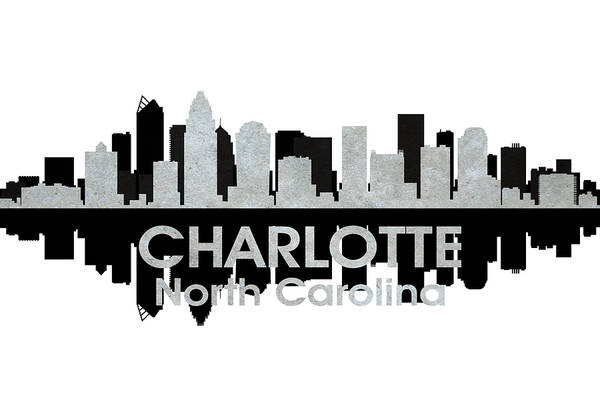 City Silhouette Art Print featuring the mixed media Charlotte Nc 4 by Angelina Vick