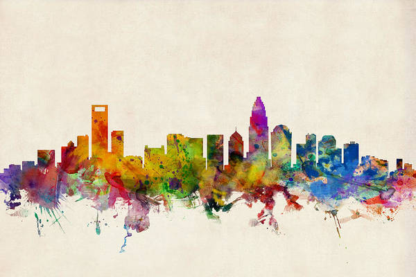 Watercolour Art Print featuring the digital art Charlotte North Carolina Skyline by Michael Tompsett