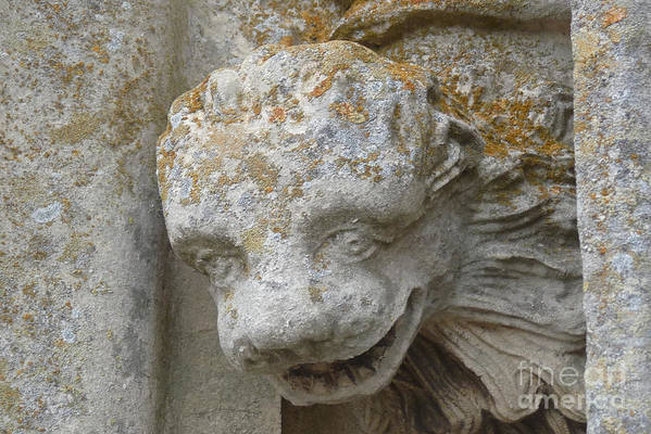 Chartres Art Print featuring the photograph Chartres Cathedral Carved Head by Deborah Smolinske