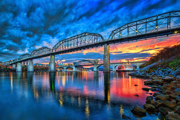 Chattanooga Art Print featuring the photograph Chattanooga Sunset 3 by Steven Llorca