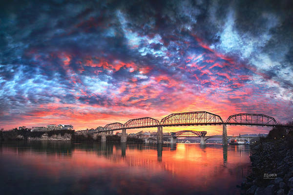 Chattanooga Art Print featuring the photograph Chattanooga Sunset 4 by Steven Llorca
