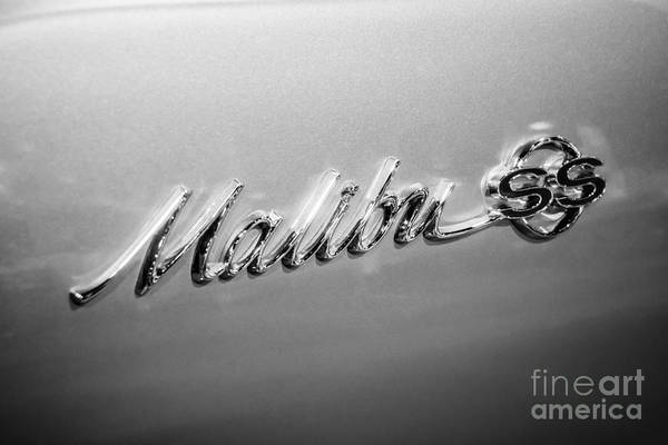 1960's Print featuring the photograph Chevrolet Malibu Ss Emblem Black And White Picture by Paul Velgos