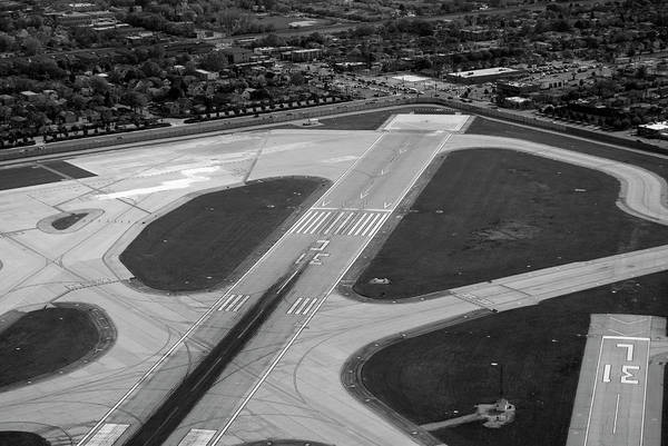 Midway Airport Art Print featuring the photograph Chicago Airplanes 04 Black And White by Thomas Woolworth