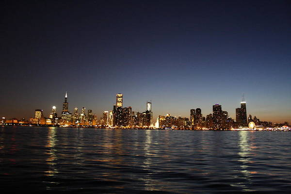 Skyline Art Print featuring the photograph Chicago At Night by Shari Bailey