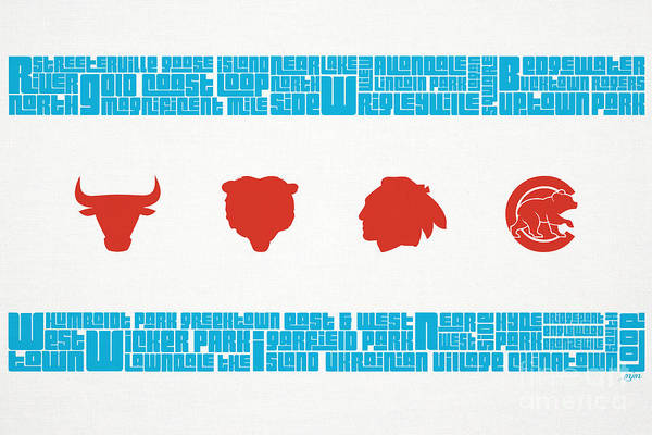 Chicago Art Print featuring the mixed media Chicago Flag Sports Teams by Mike Maher