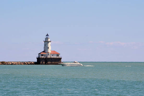 Chicago Art Print featuring the photograph Chicago Light House With Boat In Lake Michigan by Christine Till