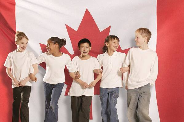 Future Print featuring the photograph Children In Front Of Canadian Flag by Don Hammond