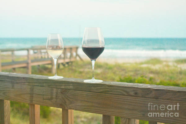 Wine Print featuring the photograph Choices At The Beach by Kay Pickens