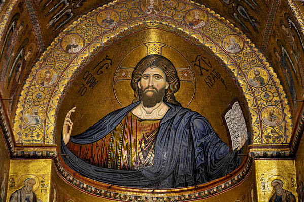 Christ Art Print featuring the photograph Christ Pantocrator Mosaic by RicardMN Photography