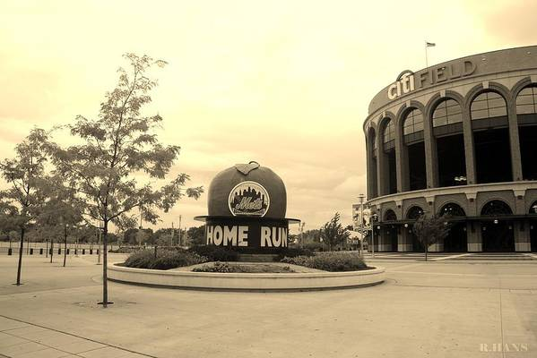 Shea Stadium Art Print featuring the photograph Citi Field In Sepia by Rob Hans