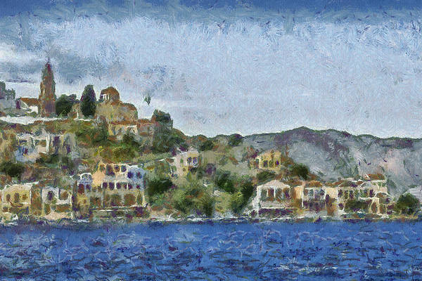 Town Art Print featuring the painting City By The Sea by Ayse Deniz