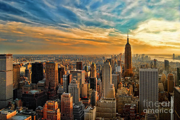 New York City Art Print featuring the photograph City Sunset New York City Usa by Sabine Jacobs