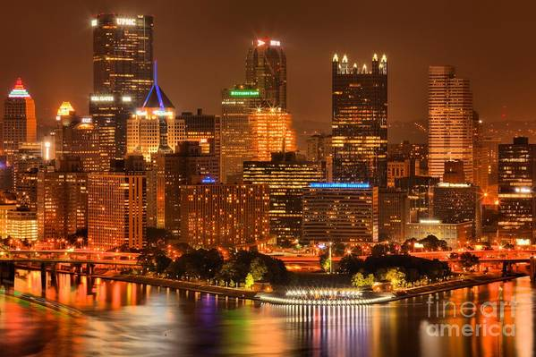 Pittsburgh Pennsylvania Art Print featuring the photograph Cityscape Of Color by Adam Jewell