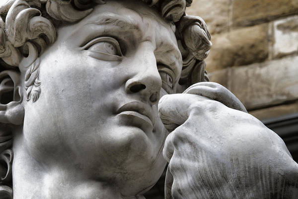 Close-up Art Print featuring the photograph Close-up Face Statue Of David In Florence by David Smith