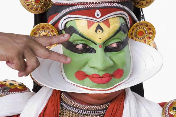 Close-up Of A Kathakali Dance Performer Gesturing Art Print