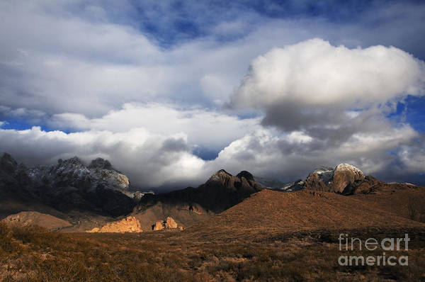 Las Cruces Art Print featuring the photograph Clouds Building Over The Organ Mountains by Vivian Christopher