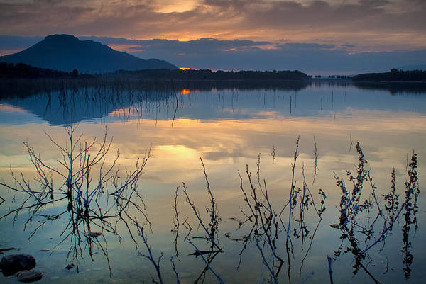 Sunset Art Print featuring the photograph Clouds On The Pink Water by Guido Montanes Castillo