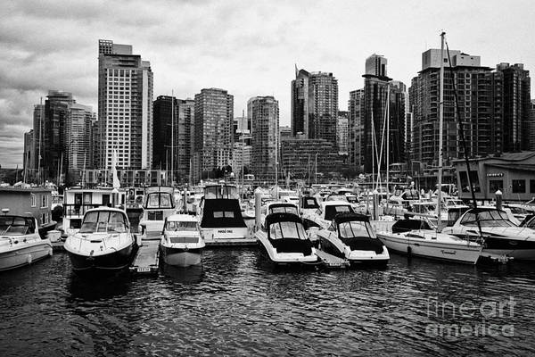 High-rise Art Print featuring the photograph coal harbour marina and high rise apartment condo blocks in the west end Vancouver BC Canada by Joe Fox