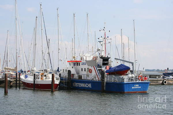 Harbor Art Print featuring the photograph Coast Guard Maasholm Harbor by Christiane Schulze Art And Photography