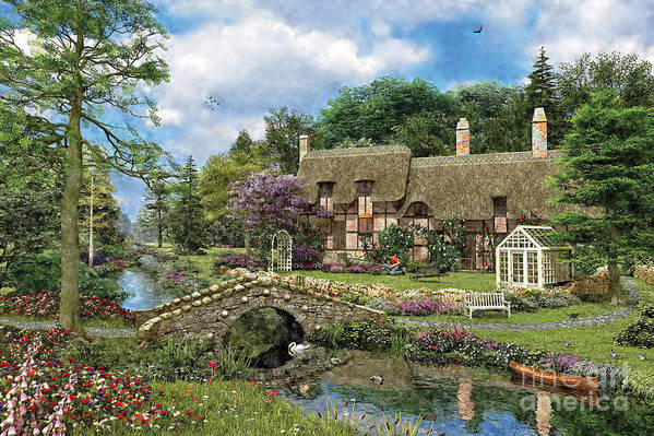 Please Contact Mgl For Information About Restrictions.this Image Is Protected By Copyright. You May Not Copy Art Print featuring the digital art Cobble Walk Cottage by Dominic Davison