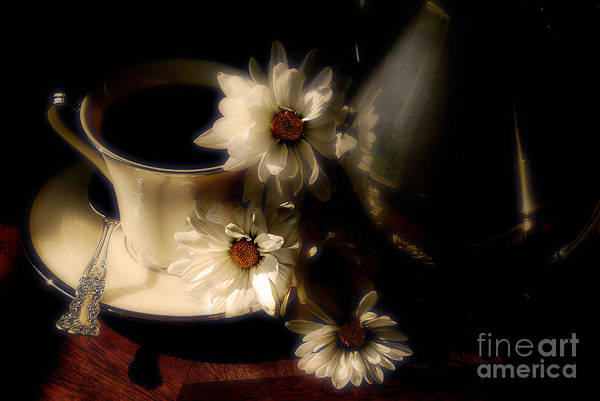 Coffee Art Print featuring the photograph Coffee And Daisies by Lois Bryan