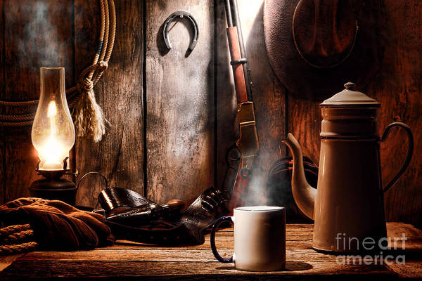 Coffee Art Print featuring the photograph Coffee At The Cabin by Olivier Le Queinec
