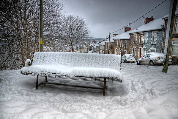 Snowy Seat Art Print featuring the photograph Cold Seat by Steve Purnell