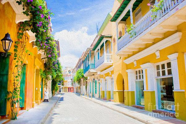 Cartagena Art Print featuring the digital art Colonial Street - Cartagena De Indias by Kenneth Montgomery