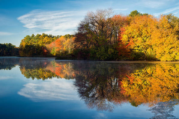 Grist Millpond Print featuring the photograph Color On Grist Mill Pond by Michael Blanchette