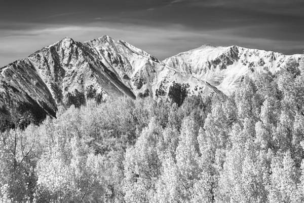 Snow Art Print featuring the photograph Colorado Rocky Mountain Autumn Magic Black And White by James BO Insogna
