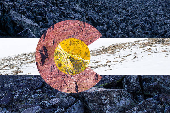 Colorado Art Print featuring the photograph Colorado State Flag With Mountain Textures by Aaron Spong