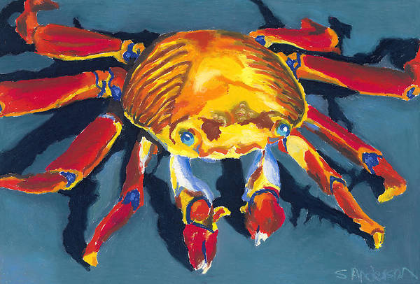 Crab Print featuring the painting Colorful Crab by Stephen Anderson