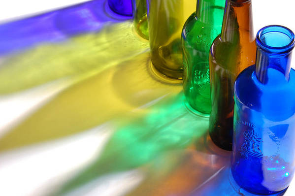 Shadow Art Print featuring the photograph Coloring Bottles by Gina Dsgn