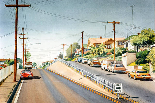 Columbia Street Art Print featuring the painting Columbia Street Middletown by Mary Helmreich
