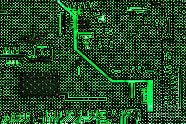 Computer Print featuring the photograph Computer Circuit Board by Olivier Le Queinec