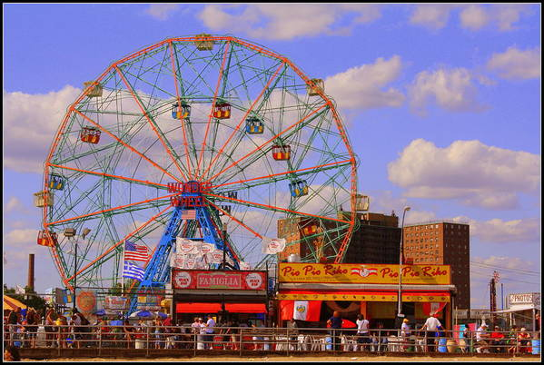 Nyc Art Print featuring the photograph Coney Island Wonder Wheel by Dora Sofia Caputo Photographic Design and Fine Art