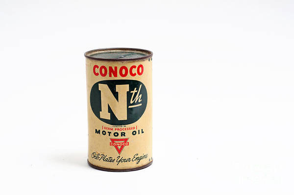Piggy Bank Art Print featuring the photograph Conoco Motor Oil Piggy Bank - Antique - Tin by Andee Design