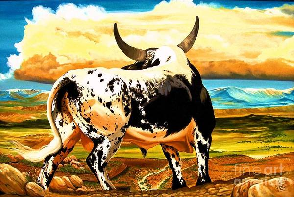 Bucking Bulls Art Print featuring the painting Contemplated Journey by Cheryl Poland